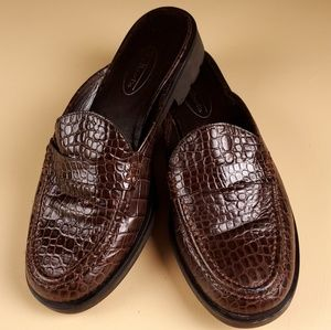 Talbots Brown Leather Mules
